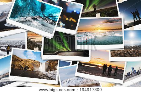 Collage of traveling picture photograph in Iceland, keeping best memories of happy day