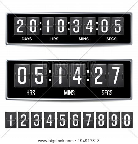 Flip Countdown Timer Vector. Analog Black Digital Scoreboard Template. With Days, Hours, Minutes, Seconds. Isolated