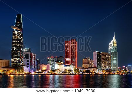 Ho Chi Minh City Skyline At Night. Colorful Cityscape
