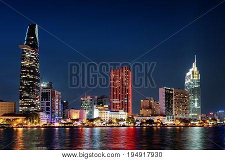 Ho Chi Minh City Skyline At Night. Colorful Cityscape
