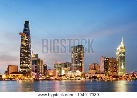 Ho Chi Minh City Skyline At Sunset. Scenic Cityscape