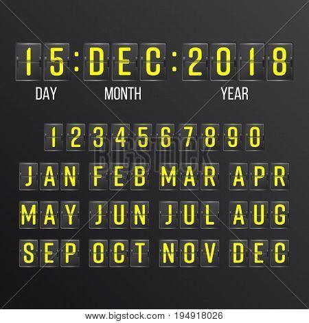 Flip Countdown Timer Vector. Flip Scoreboard Digital Calendar. Years, Months, Days