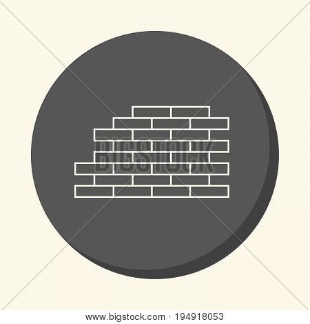 Masonry vector round line icon with the illusion of volume simple color change