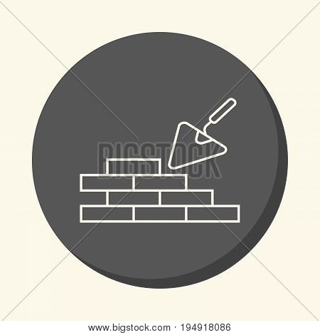Brick masonry and trowel for brickwork vector round line icon with the illusion of volume simple color change