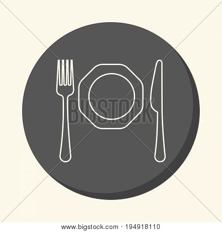 Fork knife and plate vector round line icon with the illusion of volume simple color change