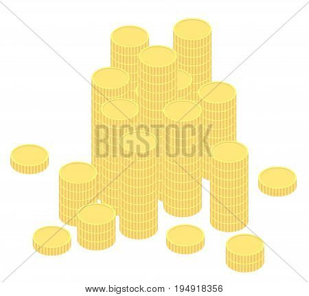 coins in flat design isoalted on white background