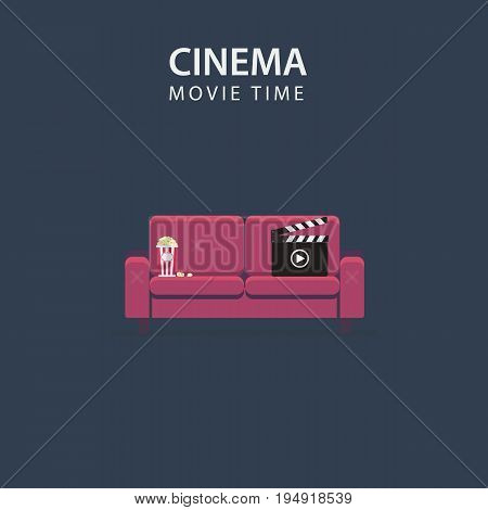 Movie Night. Home Cinema Illustration. Flat Design of Sofa Chair, Film Slate and Pop Corn