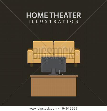 Home Theater Illustration. Modern Home Media Entertainment System and Sofa Chair
