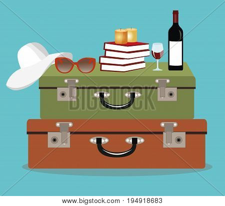 Vintage colorful suitcases on blue background. Hat, sunglasses, books, candles and wine. Traveling concept. Flat style vector illustration.