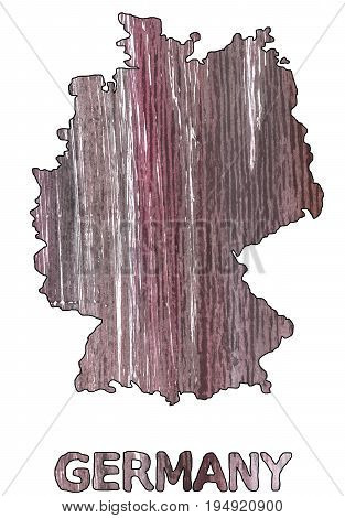 Hand-drawn abstract watercolor background. Germany map outline. Used colors: Deep Taupe Bazaar Old lavender Rocket metallic Wenge Mountbatten pink Mauve taupe Dark liver English lavender.