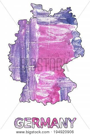 Hand-drawn abstract watercolor. Germany map outline. Used colors: White African violet Middle Blue Purple Magnolia Sky magenta Super pink Lenurple Dark blue-gray Purple mountain majesty.