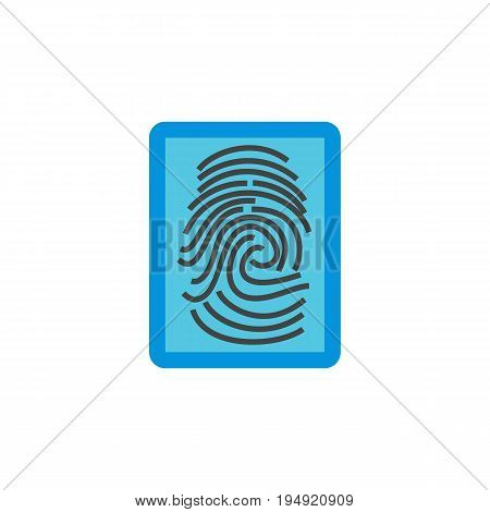 Icon of fingerprint identification. Verification, identity, sensor. Security concept. Can be used for topics like authentication, recognition or biometrics