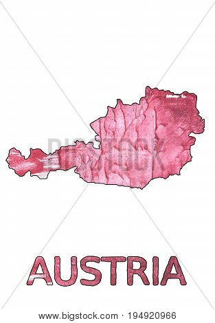 Hand-drawn abstract watercolor. Austria map outline. Used colors: Cinnamon Satin Popstar Pale red-violet English red Blush Cotton candy Carnation pink Tickle Me Pink Light crimson.
