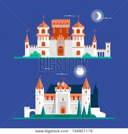 Medieval ancient castle buildings flat icons set isolated vector illustration. Flat vector illustration