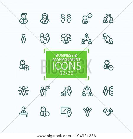 Set of vector illustrations fine line icons, collection of business people icons, personnel management, agreement, handshake, leader and his team, communication, subordination. 32x32 pixel perfect