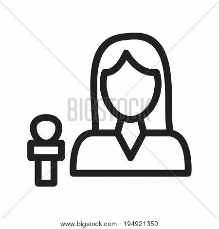 News, female, anchor icon vector image. Can also be used for news and media. Suitable for mobile apps, web apps and print media.