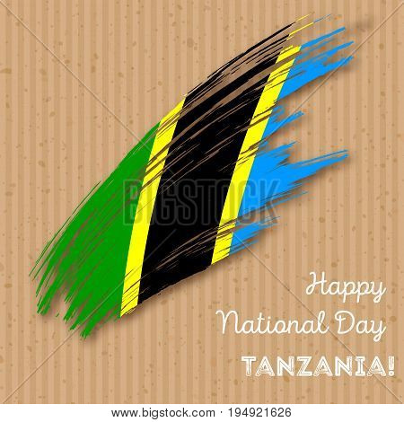 Tanzania Independence Day Patriotic Design. Expressive Brush Stroke In National Flag Colors On Kraft