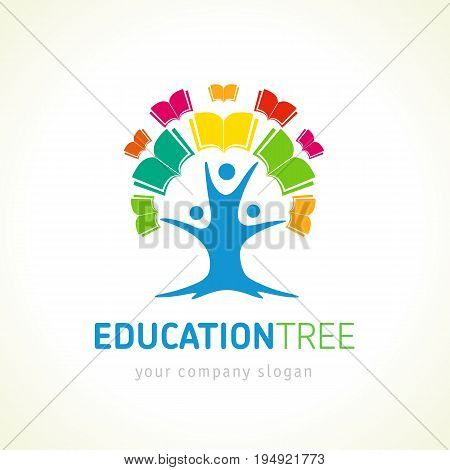 Creative brand vector identity for digital education, online library and learning kids icon. Education tree open book logo