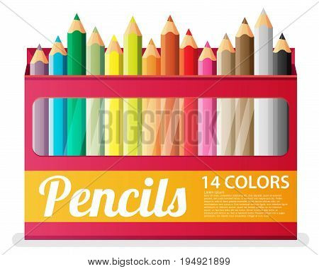 Flat Pencils in box. Vector illustation isolated on white background