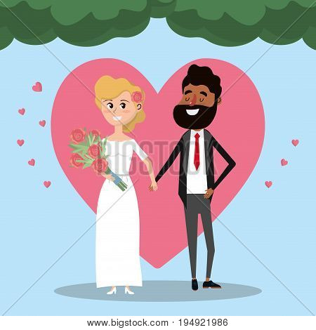 couple married with heart and bouquet flowers vector illustration
