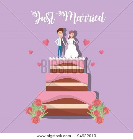 couple married to cake decoration design vector illustration