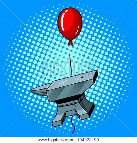 Anvil is flying on a balloon pop art hand drawn vector illustration.