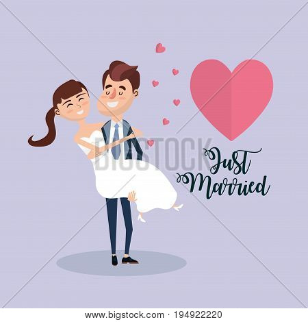 couple married with hearts and romantic celebration vector illustration
