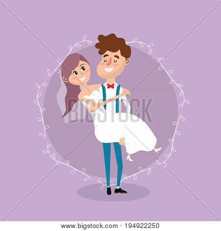couple married with branches decoration design vector illustration