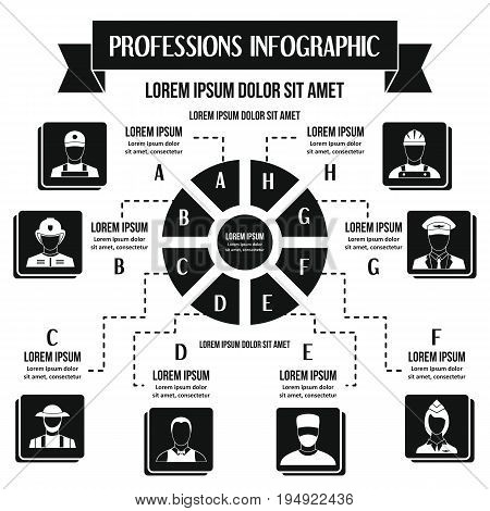 Professions infographic banner concept. Simple illustration of professions infographic vector poster concept for web