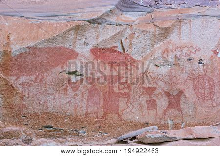 Pre-historical cave paintings over 3000 years at Pha Tam National Park Ubon Ratchathani Thailand