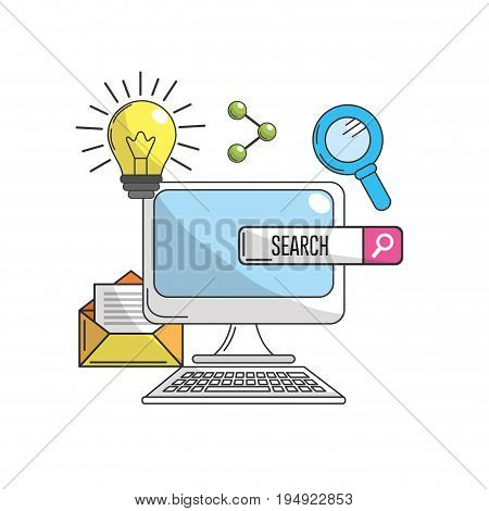 computer with technology information icons vector illustration