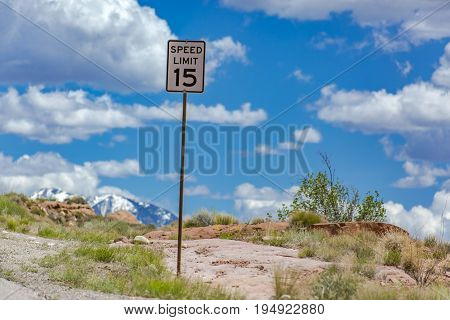 Off roading views of Moab Utah speed limit sign