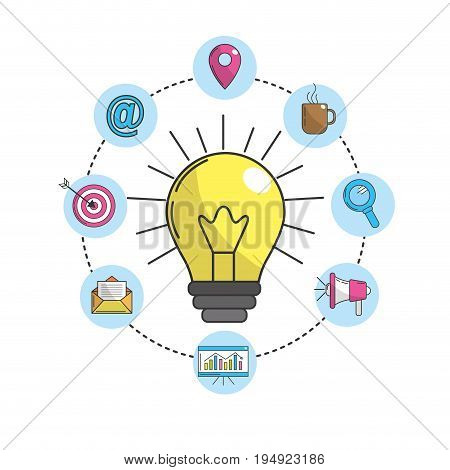 bulb idea with technology icons vector illustration