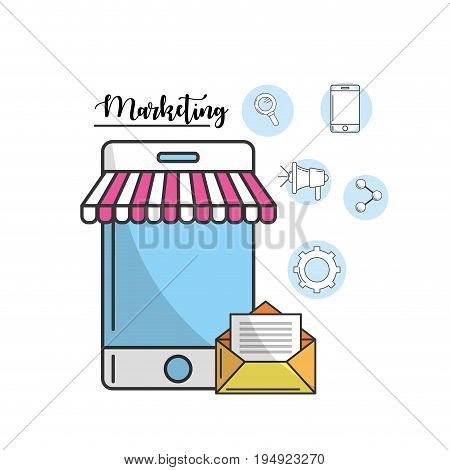 smartphone with e-mail message of company vector illustration