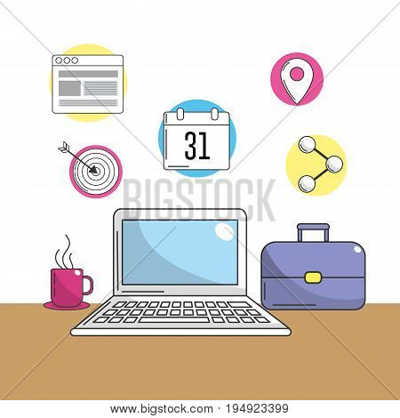 laptop with company tools to information vector illustration