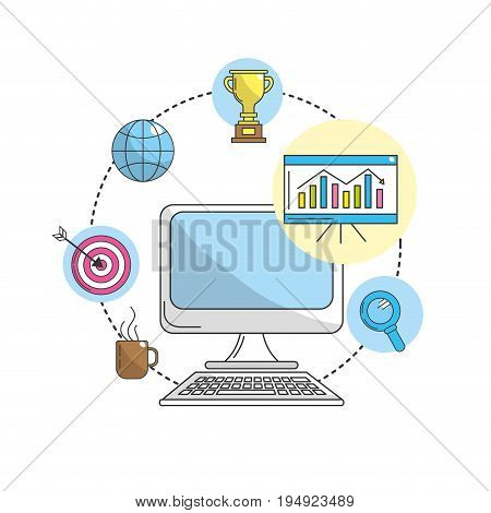 computer with statoistic and technology information vector illustration