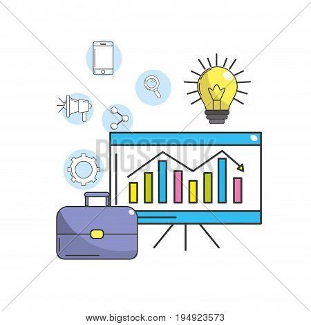 statistic with suit case and bulb idea with technology icon vector illustration