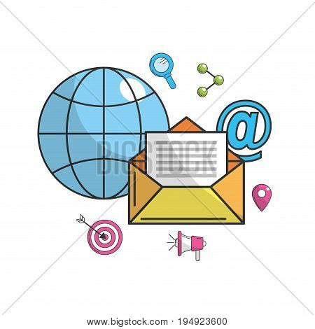 global e-mail message technology icon vector illustration