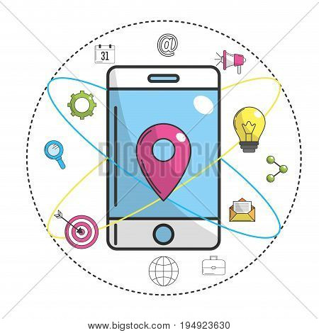 smartphone with ubication symbol and technology icon vector illustration