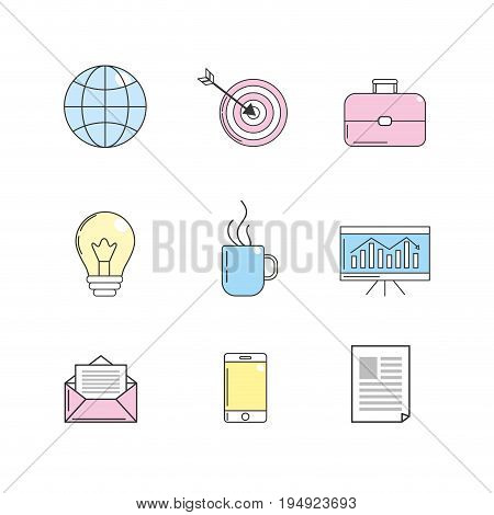 set company with technology tools icon vector illustration