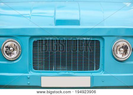 Hippie van front part. Retro vintage vehicle. Blue color. Trip