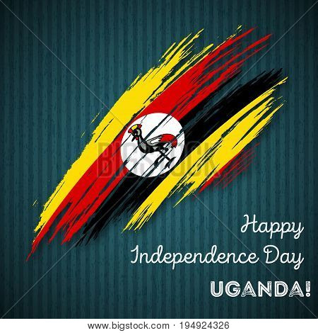 Uganda Independence Day Patriotic Design. Expressive Brush Stroke In National Flag Colors On Dark St