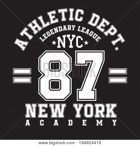 New York typography for t-shirt print. Sports athletic t-shirt graphics. Vector