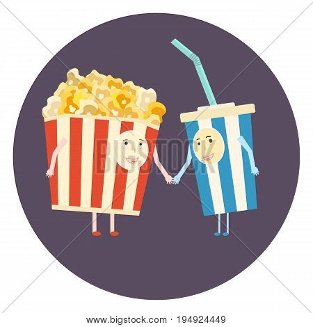 Flat vector perfect cinema friends couple - popcorn and cola. Cute cartoon movie theater characters icon for design print covers banners logotype background