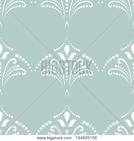 Classic seamless vector pattern. Traditional orient ornament. Classic vintage light blue and white background