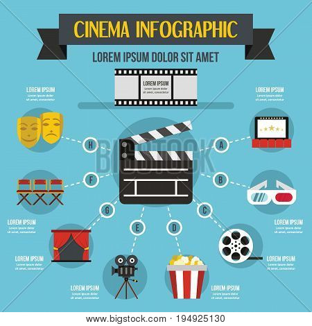 Cinema infographic banner concept. Flat illustration of cinema infographic vector poster concept for web
