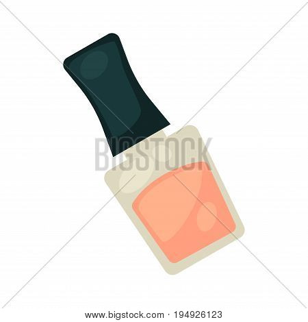 Pink nail varnish in bottle with black cover isolated cartoon flat vector illustration on white background. Liquid substance for manicure that used in beauty salons. Cosmetic means for women.