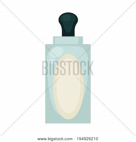 Liquid soap in big transparent bottle with empty oval label and black top with dispenser isolated cartoon vector illustration on white background. Personal higiene means for hands disinfection.