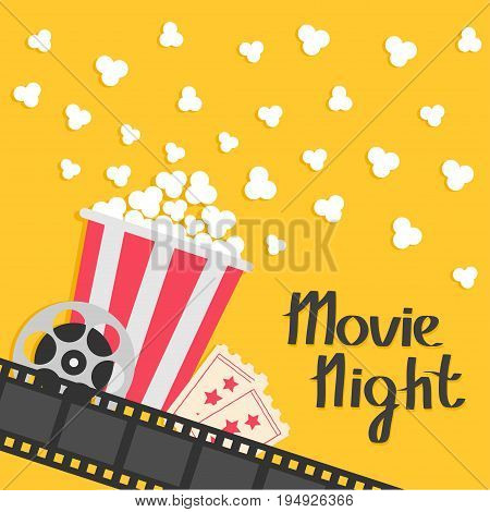 Popcorn popping. Big movie reel. Ticket Admit one. Three star. Cinema movie icon in flat design style. Film strip border. Red yellow strip box. Yellow background Vector illustration