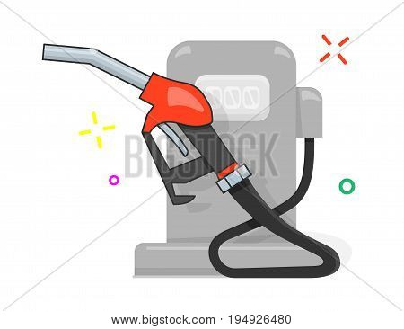 Gas station vector illustration, cartoon style for the web site.